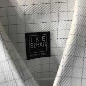 Ike Behar Blue Checked Dress Shirr